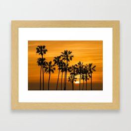 Palm Trees at Sunset by Cabrillo Beach Los Angeles California Framed Art Print