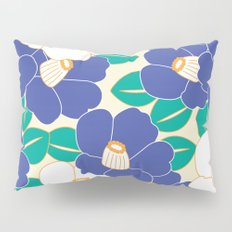 Japanese Style Camellia - Blue and White Pillow Sham
