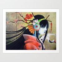 Geisha Wearing Headphones Art Print