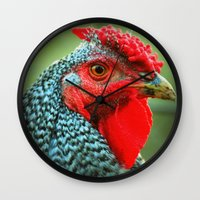 rooster Wall Clocks featuring Rooster by Nichole B.