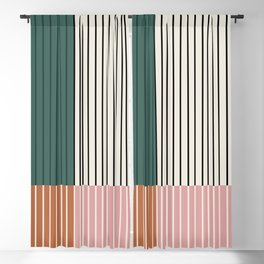 Color Block Line Abstract V Blackout Curtain