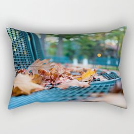 Bench with Autumn Leaves Rectangular Pillow