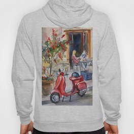 Red moped on the street of Paris Hoody