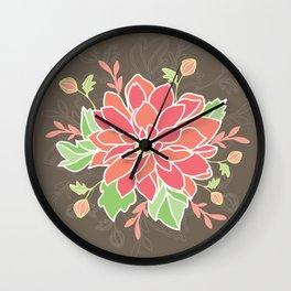 Dahlia with buds Wall Clock