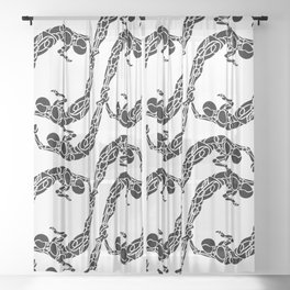 Tribal Bodies Pattern Sheer Curtain