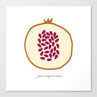 pomegranate Canvas Prints featuring POMEGRANATE by Lara Trimming
