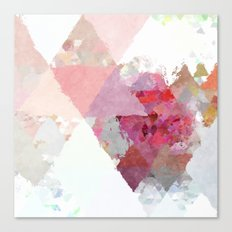 Pink white rosegold triangle pattern Canvas Print