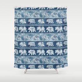 BEAR SPIRIT Indigo Watercolor California Bears Pattern Shower Curtain