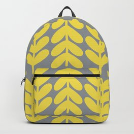 Chunky Knit Leaves and Stems Minimalist Botanical Pattern in Lemon Yellow and Light Gray Backpack