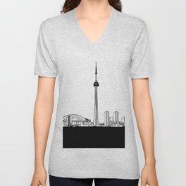 Toronto Skyline - Black Base Unisex V-Neck