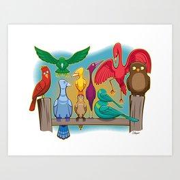 Colorful Goofy Birds Art Print