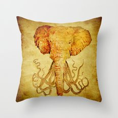 The elephant who wanted to be an octopus Throw Pillow