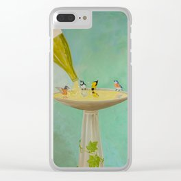 Wine Country Bird Bath Clear iPhone Case