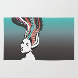 Girl with long colored waves hair Rug