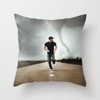 running Throw Pillows featuring Running by Jovana Rikalo