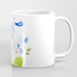 blue butterfly flowers watercolor Coffee Mug