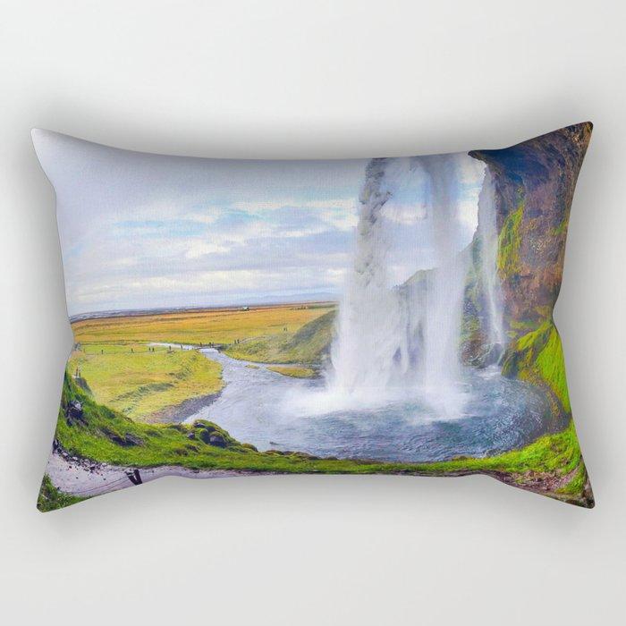 Behind Seljalandsfoss Waterfall in Iceland (1) Rectangular Pillow