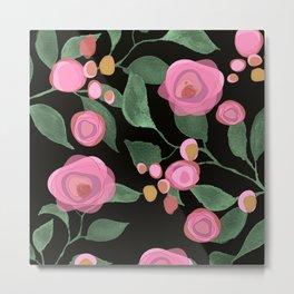 Pink Roses on Black Metal Print