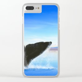 Whale tail on ocean with an island Clear iPhone Case