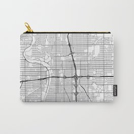 Wichita Map, USA - Black and White Carry-All Pouch