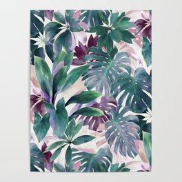 Tropical Emerald Jungle in light cool tones Poster