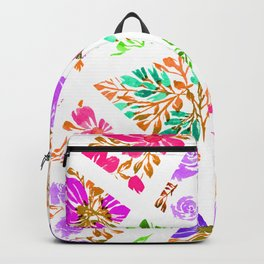 Pink and Purple Floral Mosaic Backpack