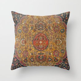 Persian Medallion Rug VI // 16th Century Distressed Red Green Blue Flowery Colorful Ornate Pattern Throw Pillow
