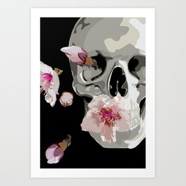 """""""Spring"""" Skull and flowers Art Print"""