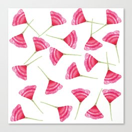 Pretty Pink and Green Scattered Flower Pattern Canvas Print