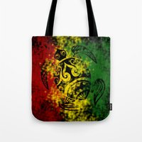 rasta Tote Bags featuring Rasta Honu by Lonica Photography & Poly Designs