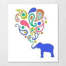 Multi-Colored Paisley Elephant Pattern Design Canvas Print