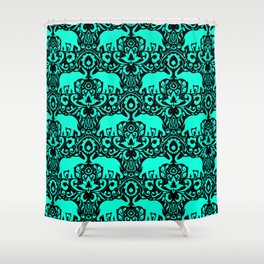 Elephant Damask Mint and Black Shower Curtain