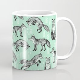 Fox pattern drawing foxes cute andrea lauren mint forest animals woodland nursery Coffee Mug