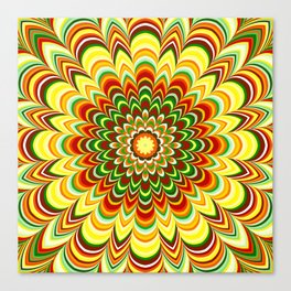 Colorful flower striped mandala Canvas Print