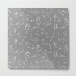Basset Hounds Pattern on Grey Background Metal Print