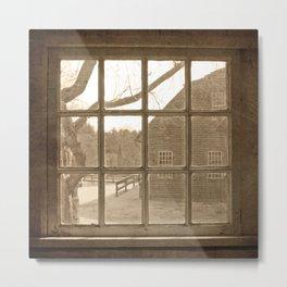 Sepia Colonial Scene Through Antique Window Metal Print