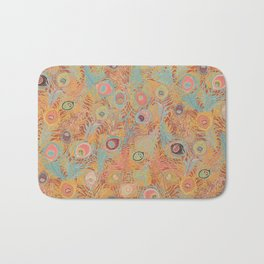 Peacock Feathers in Soft Coral Bath Mat