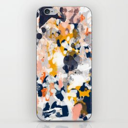 Stella - Abstract painting in modern fresh colors navy, orange, pink, cream, white, and gold iPhone Skin