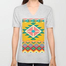 Yellow Native Aztec Unisex V-Neck