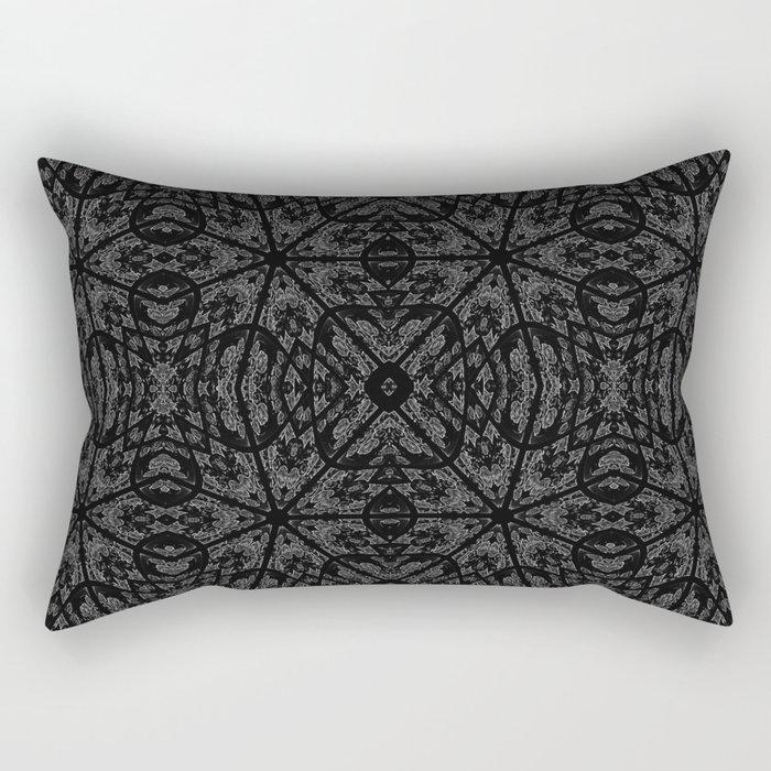 Slate Gray Black Pattern Rectangular Pillow