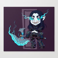 warcraft Canvas Prints featuring littlest death knight by fitze fitcher