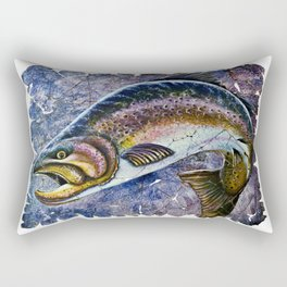 Vintage Blue Trout Fresco Rectangular Pillow