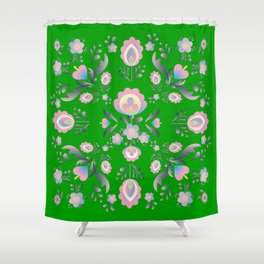 Folk Flowers in Green and Pink Shower Curtain