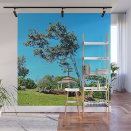 Gazebo and Leaning Tree Wall Mural