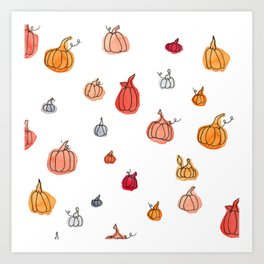 Fall Pumpkin Pattern Art Print
