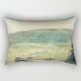 Georges Seurat - Landscape at Saint-Ouen Rectangular Pillow