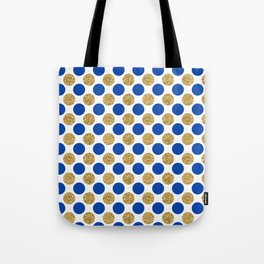 Pastel pink navy blue faux gold glitter polka dots Tote Bag