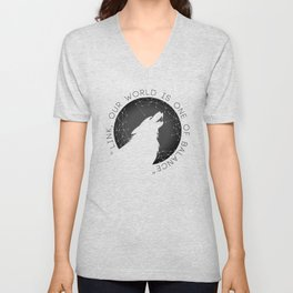Twilight Wolf - Black Unisex V-Neck