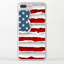design flag united states of america from torn papers with shadows Clear iPhone Case
