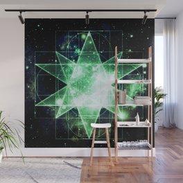 Sacred Geometry Green Midnight Blue Galaxy Wall Mural